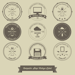 Computer Shop Vintage Label