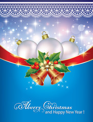 Christmas card with balls and bells on a blue background