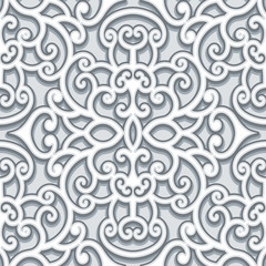 Vintage grey ornament, seamless pattern