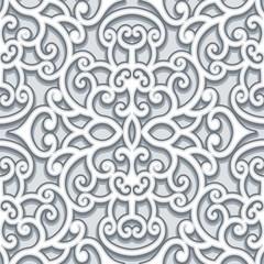Vintage grey ornament, seamless pattern