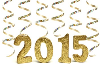 2015 New Years Eve golden numbers with streamers isolated