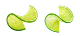 LIme slice twist isolated on white background - 73623751