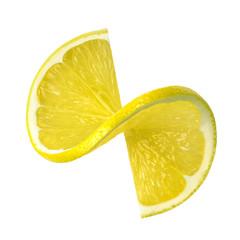 Lemon twist slice isolated on white background