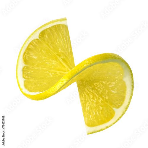 Papiers peints Fruit Lemon twist slice isolated on white background