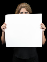 Woman hiding behind a banner with space for text