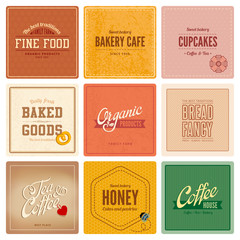 Vintage retro Labels Cafe Restaurant Bar Bakery Logo design
