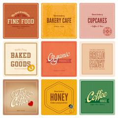 Vintage retro Labels Cafe Restaurant Bar Bakery Logo design