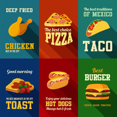 Fastfood retro style banners vector design