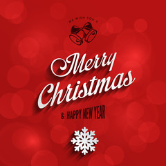 Merry Christmas & Happy New Year Typography Lettering Vintage