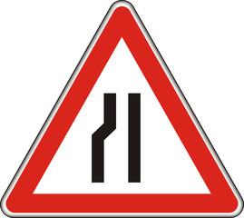 Verkehrszeichen, verengte Fahrbahn (links)