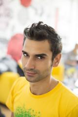Young man at hairdresser salon