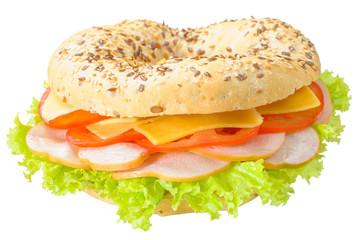Big bagel sandwich solated (with path)