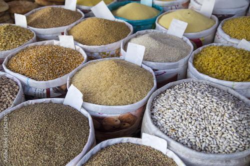 Foto op Canvas Marokko Detail of grain food on the market