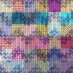 Knitted pattern on patchwork background