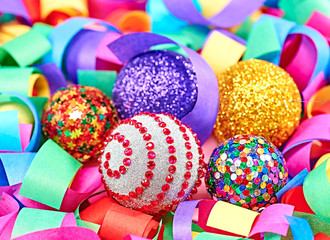 New Year 2015 decoration, colorful serpentine and balls