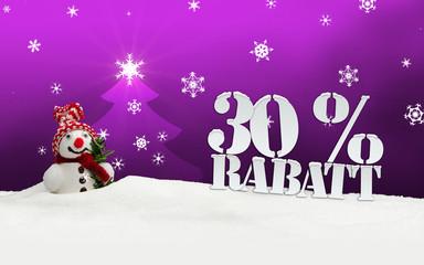 Christmas snowman 30 percent Rabatt Discount