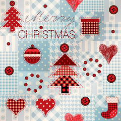 Pattern in patchwork style Merry Christmas.