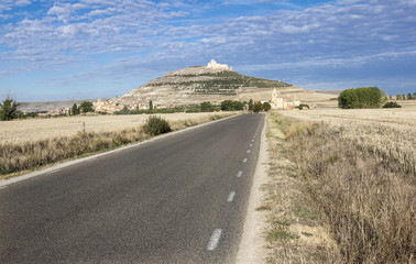 landscape with a road to Castrojeriz - ancient Spanish village