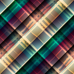 Diagonal plaid pattern on geometric rhombus background.