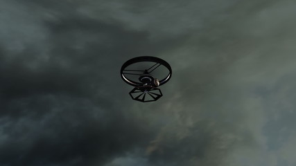 Film Camera Drone in Action 3D animation render