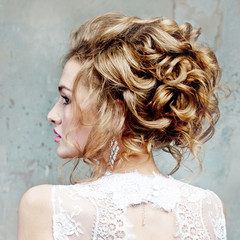 girl with beautiful hair in profile