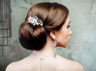 girl with beautiful hair in profile