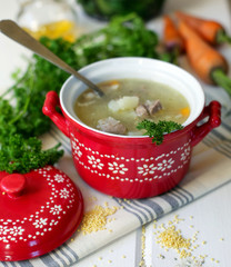 soup with meat and millet