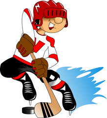 hockey player in a red helmet