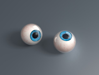 Two 3d render eyeballs