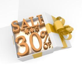 christmas gift box with Christmas sale 30 percent off symbol