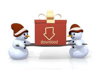download symbol presented by two snowmen