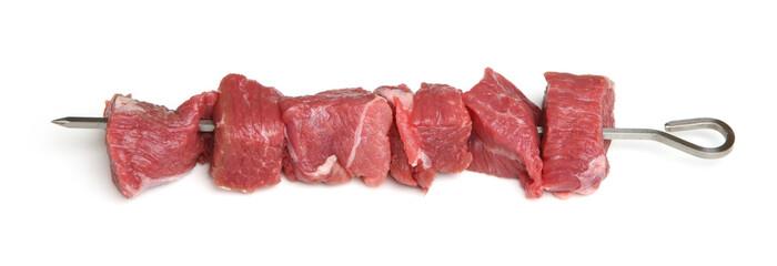 Lamb Meat on Metal Kebab Skewer