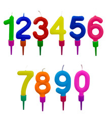 Birthday cake candles in holders, numbers, isolated on white