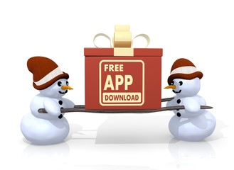free app download sign presented by two snowmen