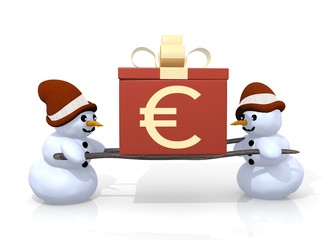 Euro sign presented by two snowmen