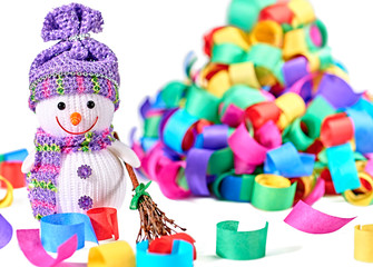 New Year 2015. Snowman with broom and serpentine