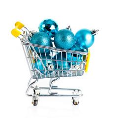 Christmas balls.  Shopping cart full of christmas
