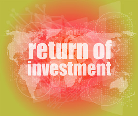 return of investment on digital background