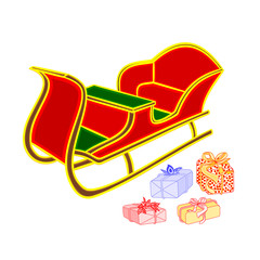 Santa's sleigh and gifts vector