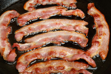 Bacon Cooking in Frying Pan