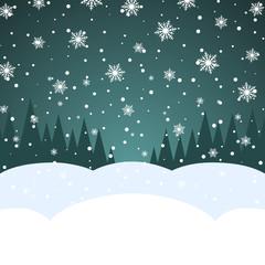 Abstract blank Christmas snowfall card template