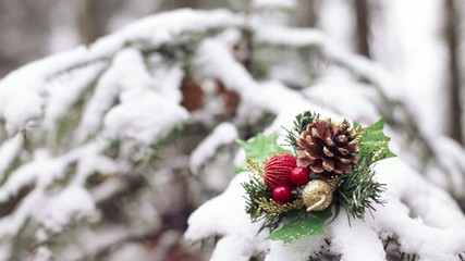 Static shot of Christmas decoration in snow