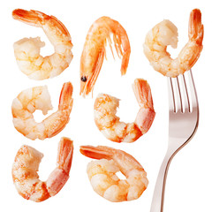 Cooked shrimps with tails, isolated on white background