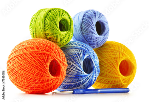 Colorful yarn for crocheting and hook isolated on white - 73630116