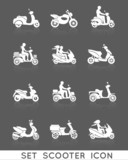 Fototapety Scooter Icons Set