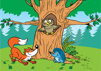 Forest cartoon animals