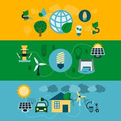 Eco energy horizontal banners set