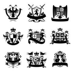 Heraldic emblems black