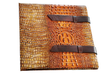 Leather notebook with an iron road from textured alligator