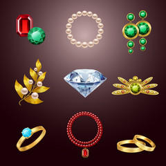 Jewelry realistic icons